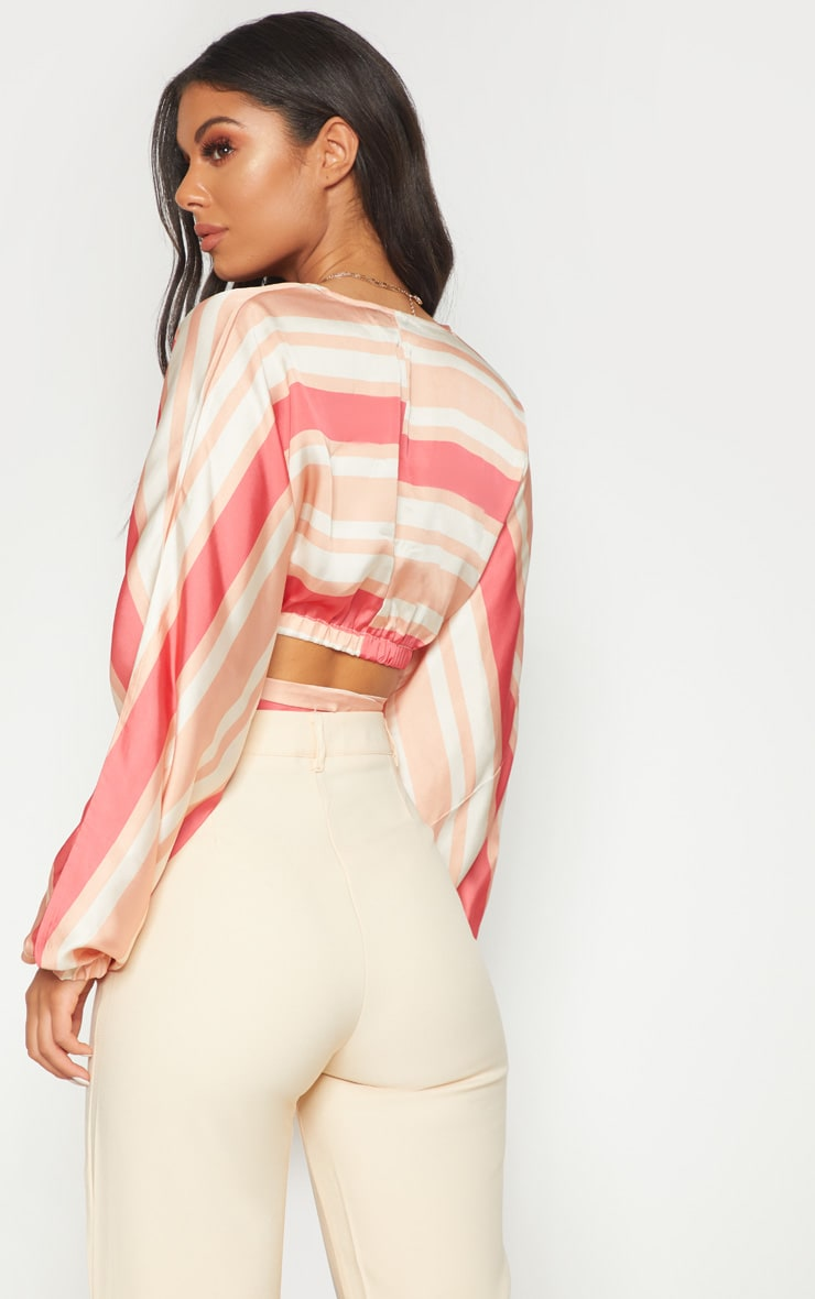 Peach Stripe Satin Tie Front Crop Blouse 2