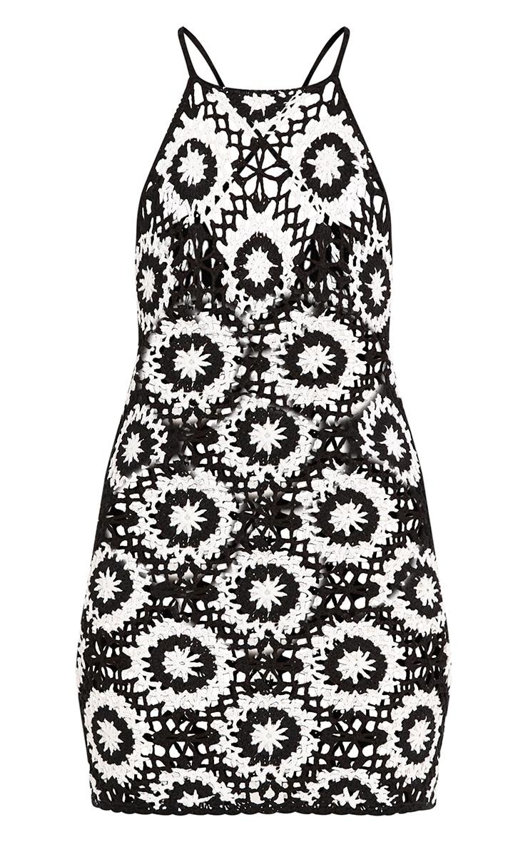 Araceli Black Mono Floral Pattern Crochet Mini Dress 3