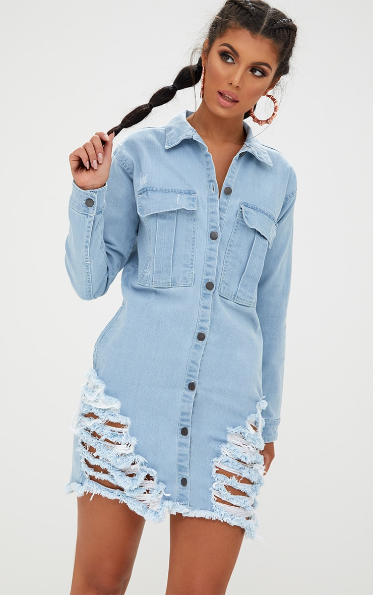 9c9ad86822c Light Wash Oversized Super Distress Denim Shirt Dress. Denim ...