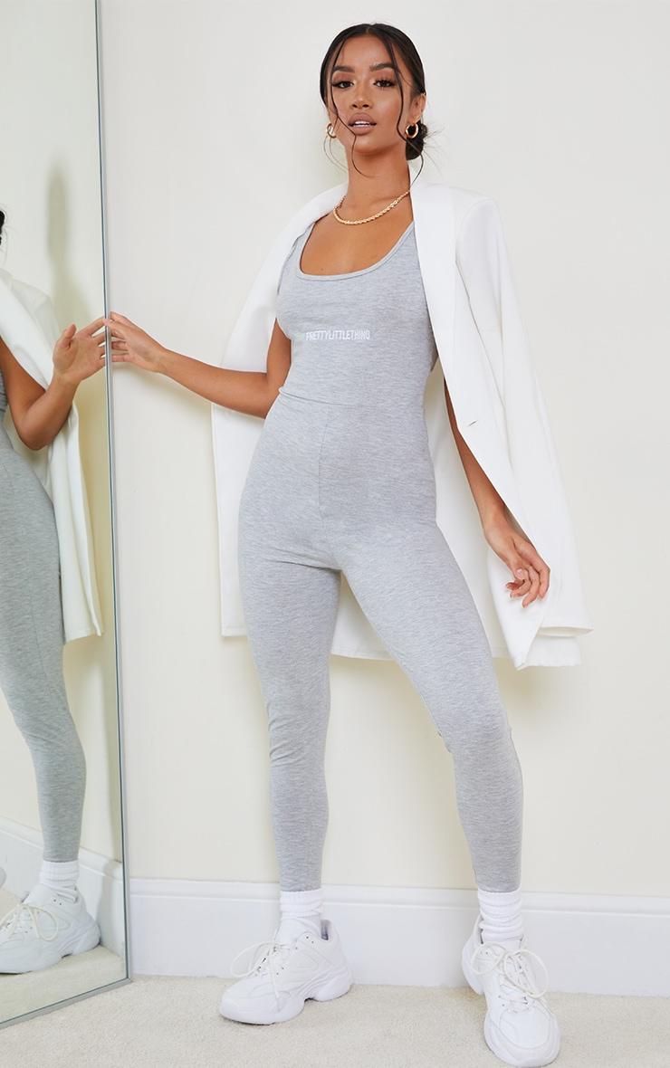 PRETTYLITTLETHING Petite Grey Scoop Neck Jumpsuit 1