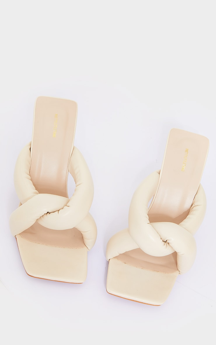 Cream Pu Square Toe Quilted Knot High Heeled Mules 4