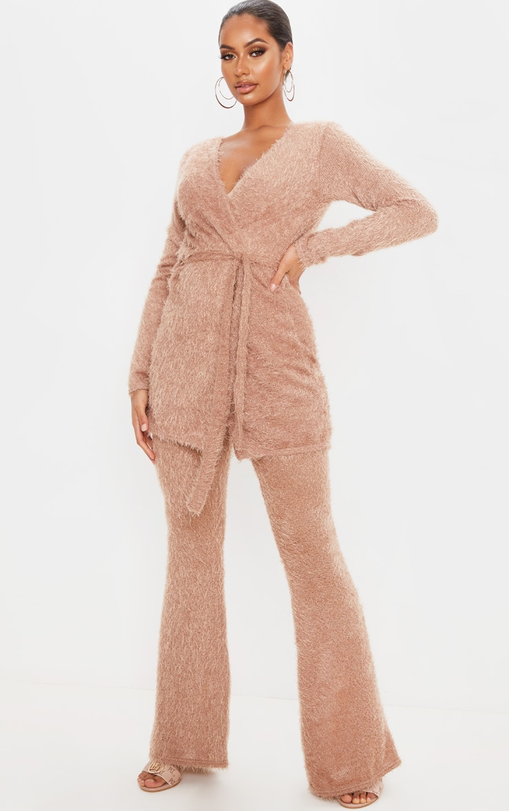 Camel Eyelash Knit Flare Pants 1