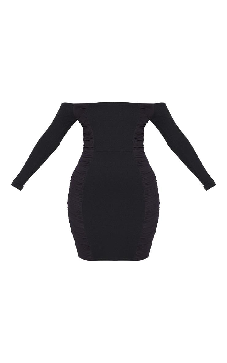 Black Bardot Ruched Side Panel Bodycon Dress 3