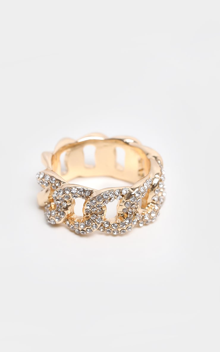 Gold Chunky Pave Chain Ring 3