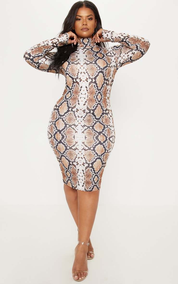 Plus Taupe Snake Print High Neck Midi Dress