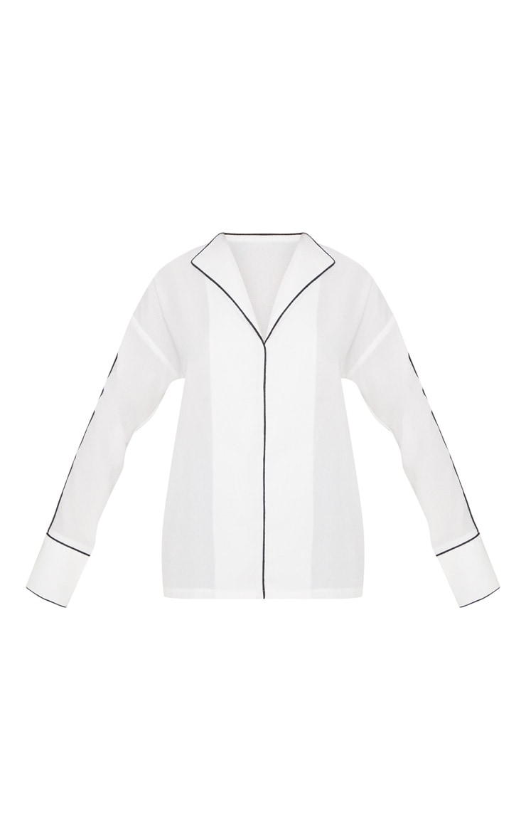 White Contrast Binding Blouse 3