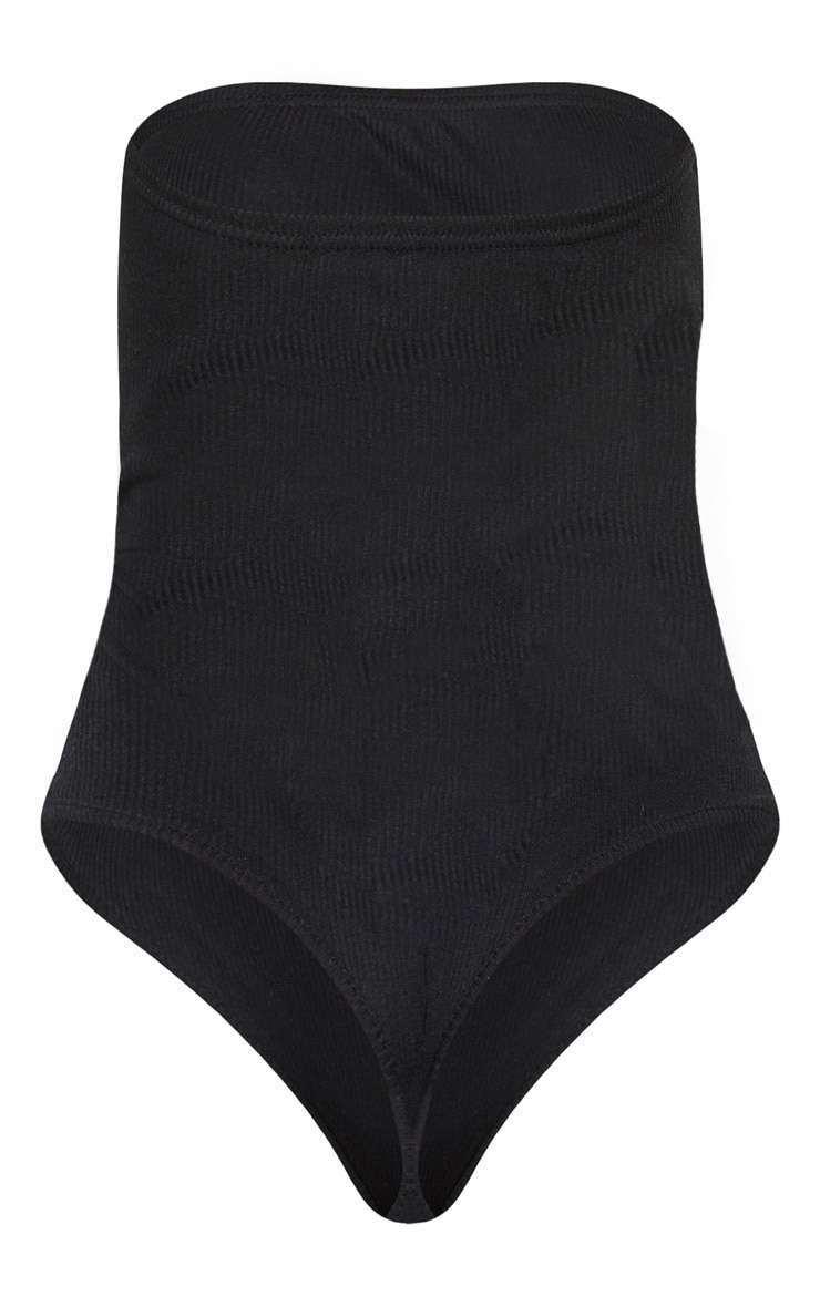 Petite Black Extreme Cut Out Strapless Bodysuit 4