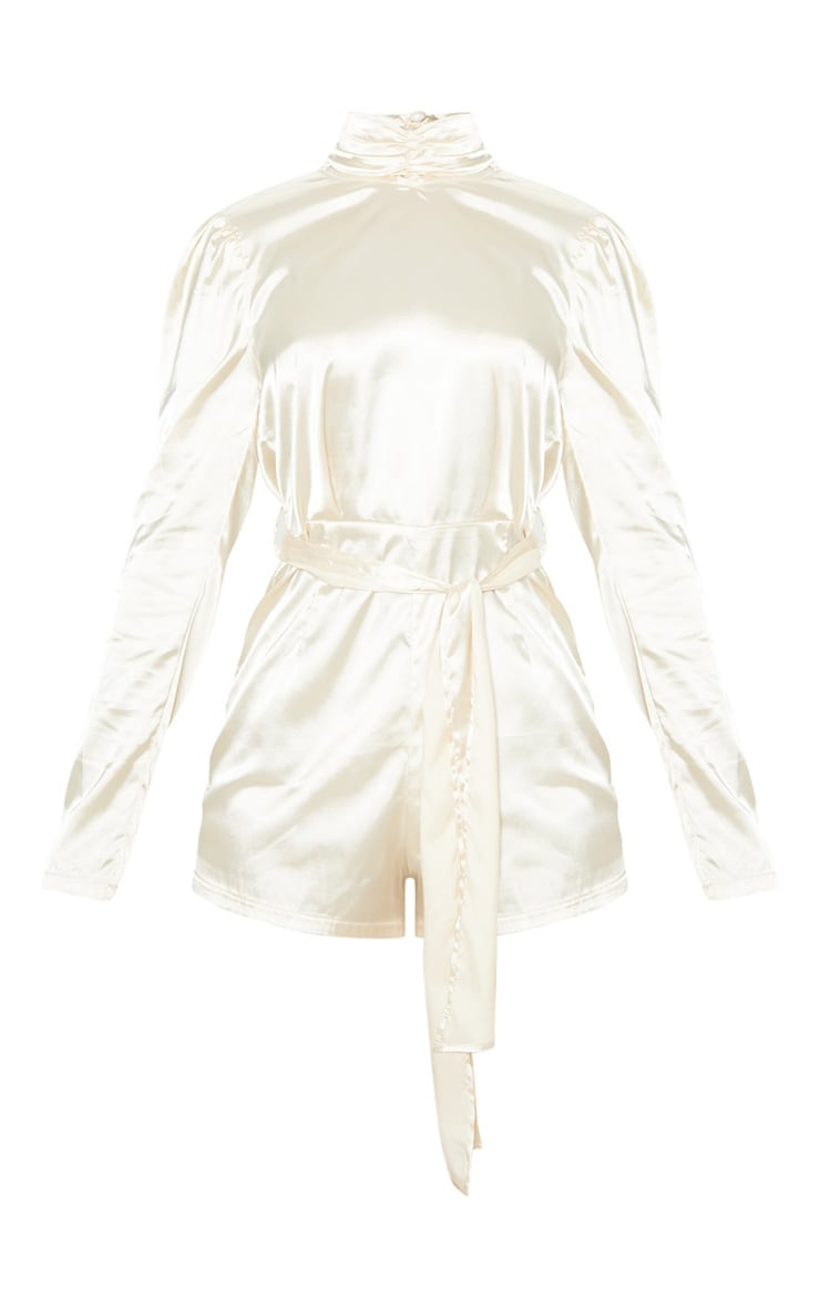 Champagne High Neck Open Back Satin Playsuit 3