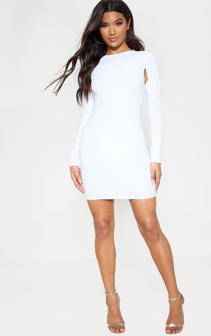 Stone Puff Sleeve Cut Out Bodycon Dress 4