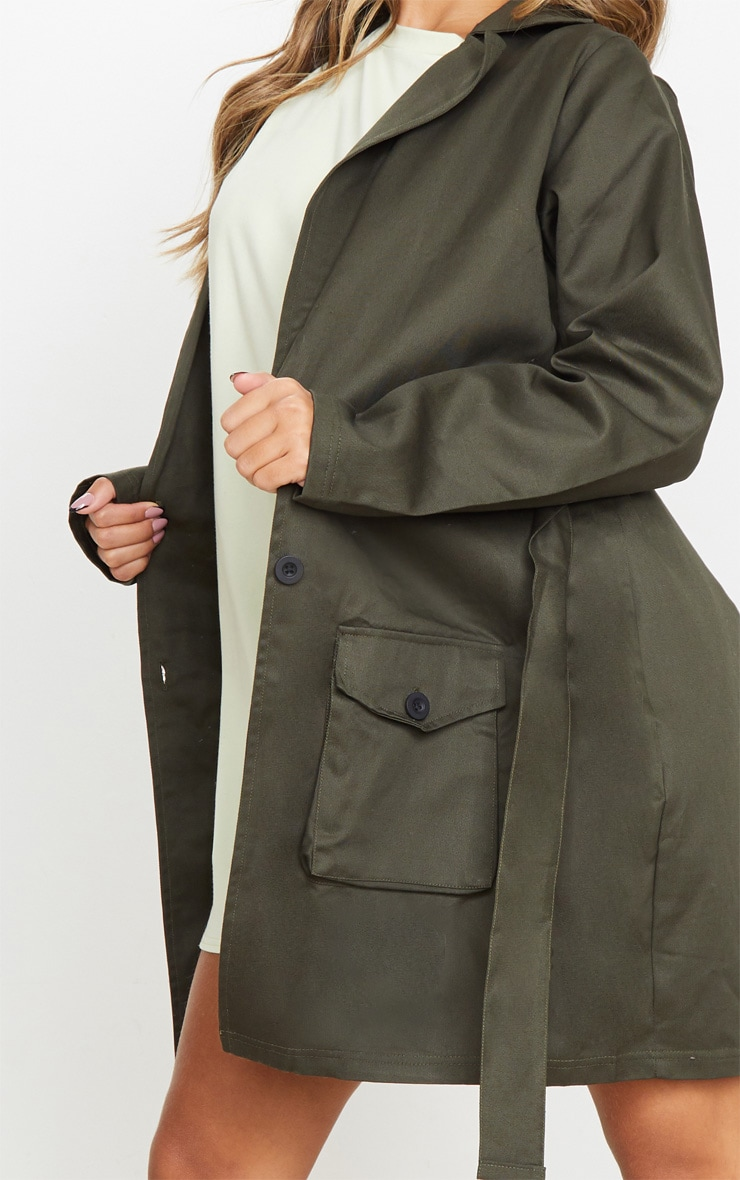 Khaki Pocket Detail Trench Coat 4