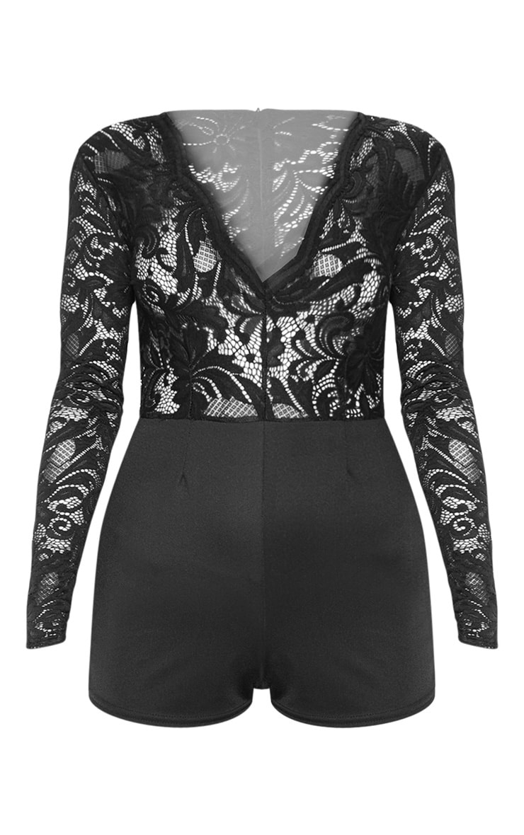 Black Lace Long Sleeve Plunge Romper 3