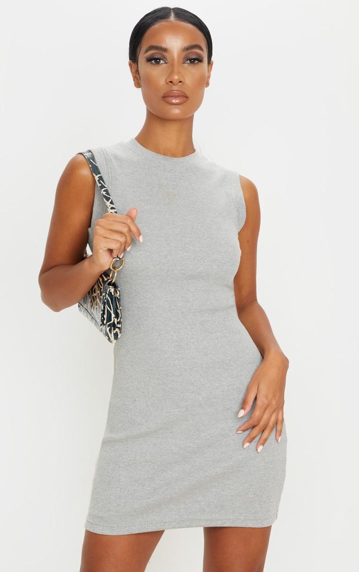 Grey Round Neck Ribbed Mini Dress 1
