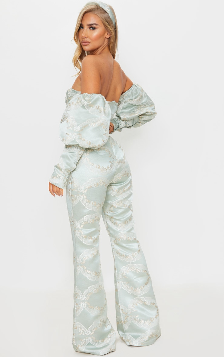 Sage Green Jacquard Puff Sleeve Cup Detail Jumpsuit 2