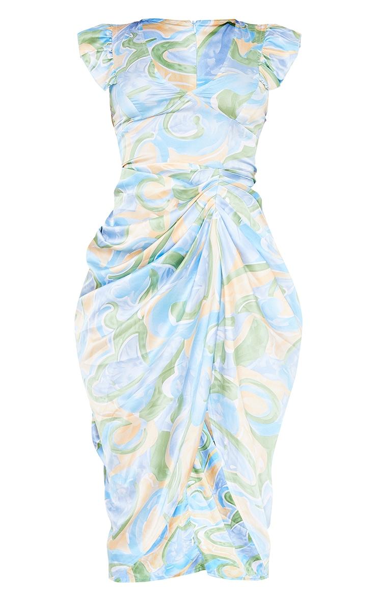 Blue Abstract Print Satin Buttoned Draped Midi Dress 5