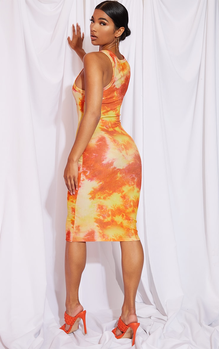 Orange Tie Dye Racer Neck Rib Midi Dress 2