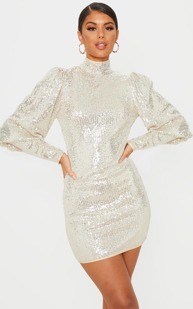 Silver Sequin Puff Sleeve Bodycon Dress 1