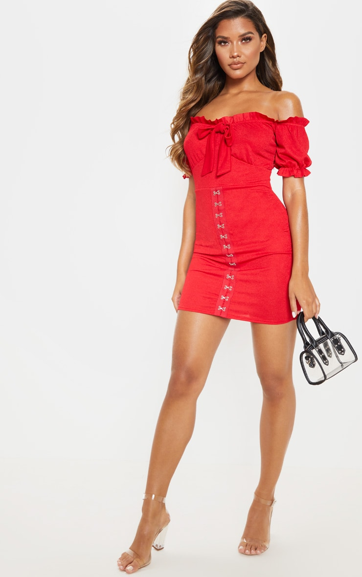 Red Short Sleeve Tie Front Hook And Eye Bodycon Dress 4