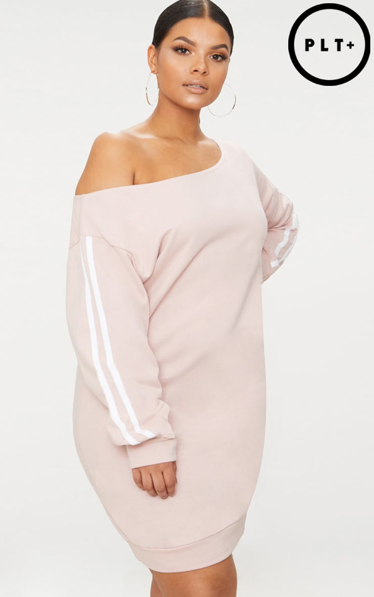 Plus Nude Off The Shoulder Sweater Dress