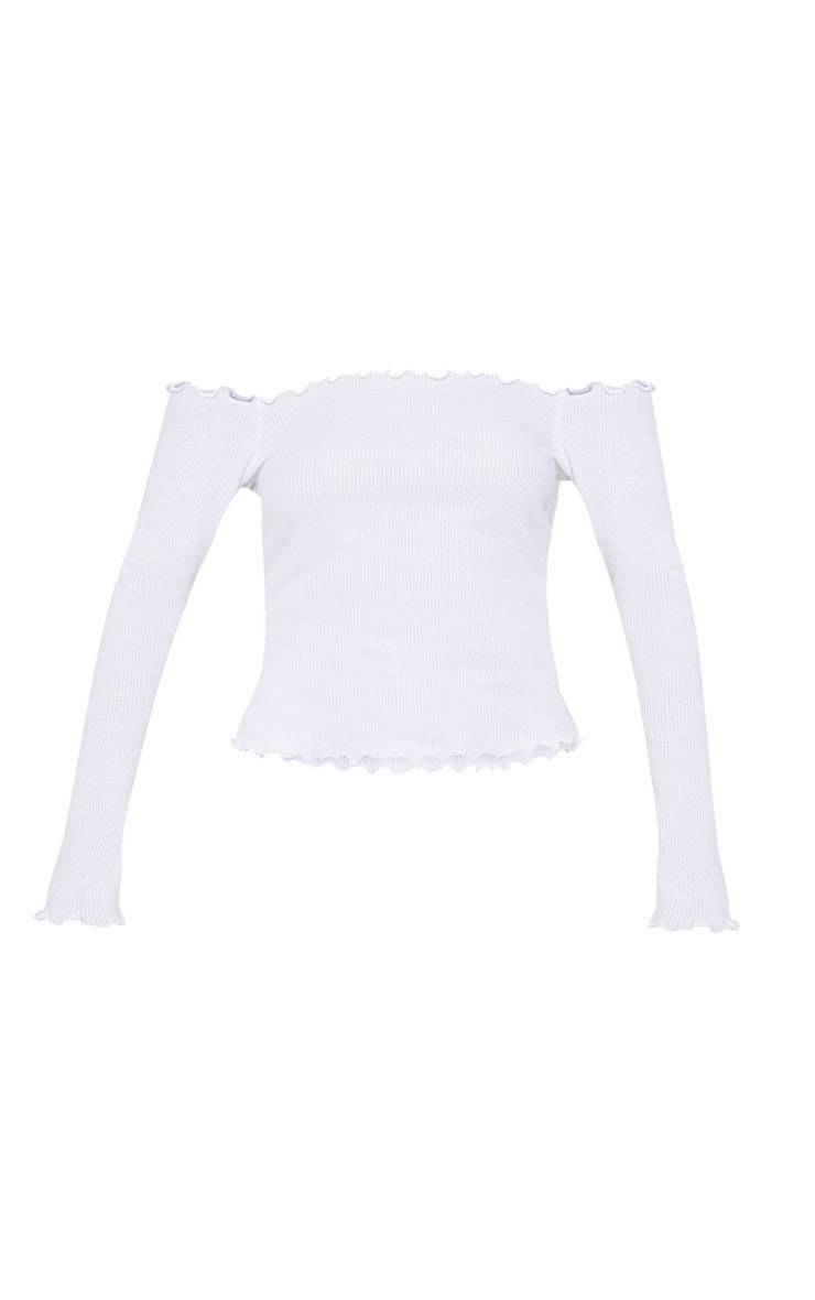 White Rib Long Sleeve Bardot Top 3