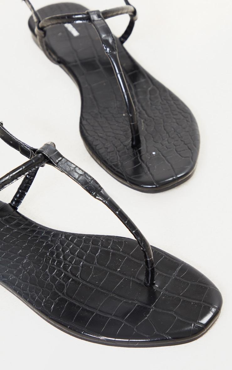 Black Toe Post Sandals 4