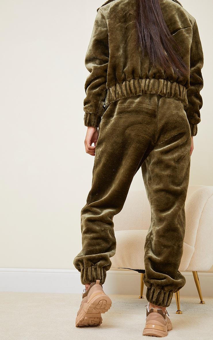 Khaki Faux Fur Joggers 3