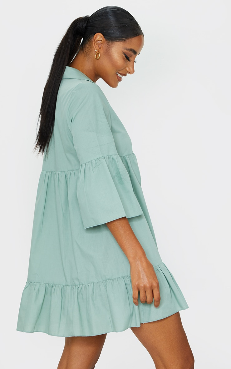 Sage Green Button Front Tiered Smock Dress 2