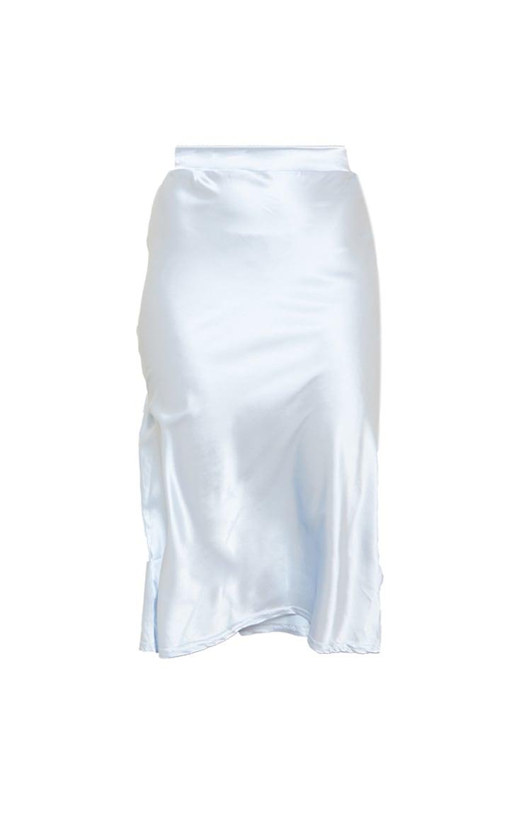 Petite Dusky Blue Satin Bias Cut Midi Skirt 5