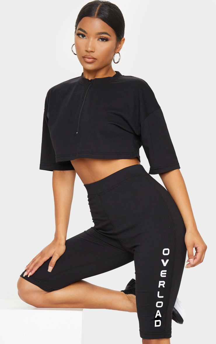 Black Oversized Slogan Back Zip Neck Cropped T Shirt 2