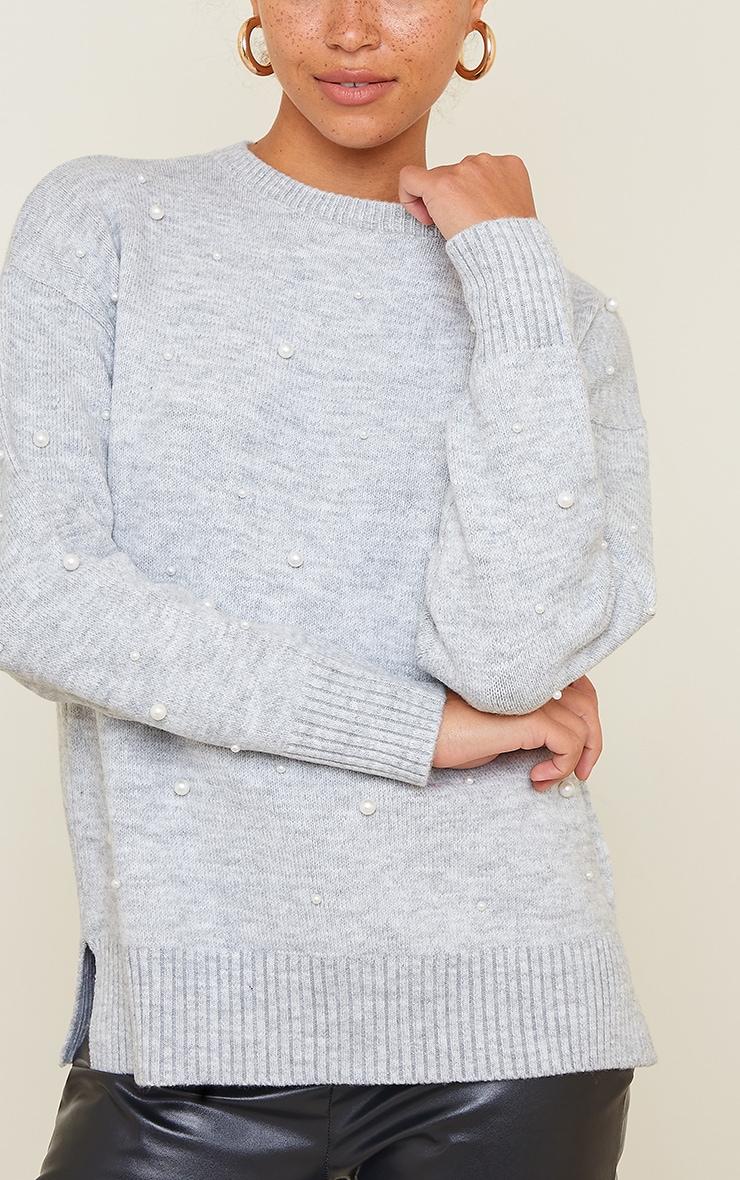 Light Grey Scattered Pearl Embellished Sweater 4