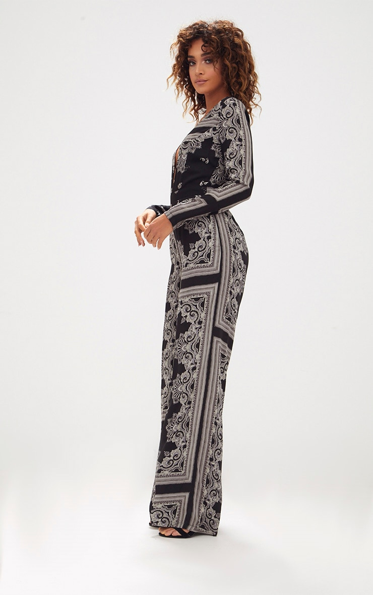 Black Scarf Print Long Sleeve Plunge Jumpsuit 4
