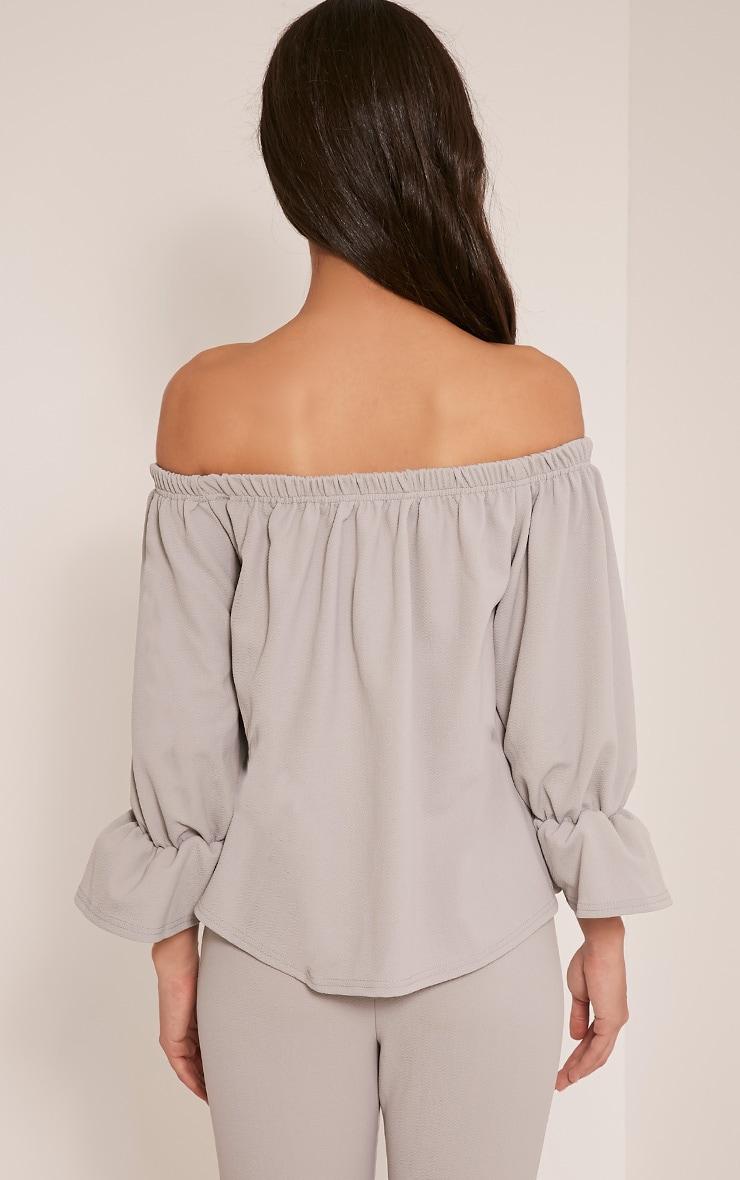 Evalyn Grey Bardot Frill Sleeve Top 2