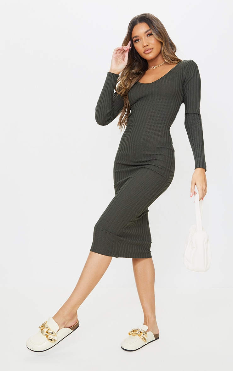 Khaki Off Shoulder Rib Knitted Midaxi Dress 4