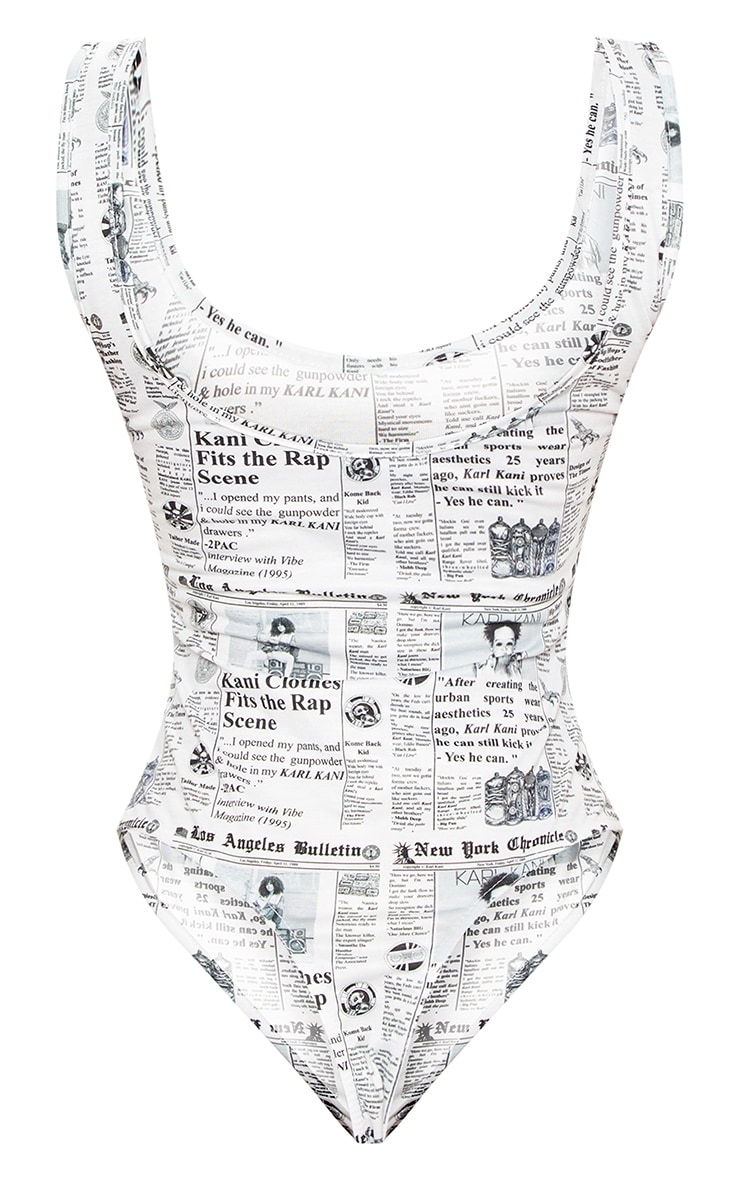 KARL KANI Monochrome Newspaper Print Embroidered Bodysuit 4