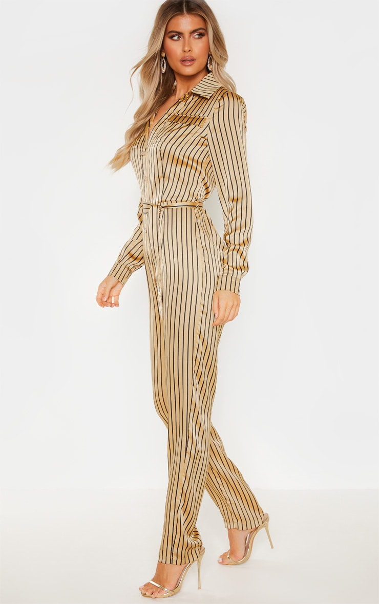 Tall Cream Stripe Square Pocket Long Sleeve Utility Jumpsuit 1