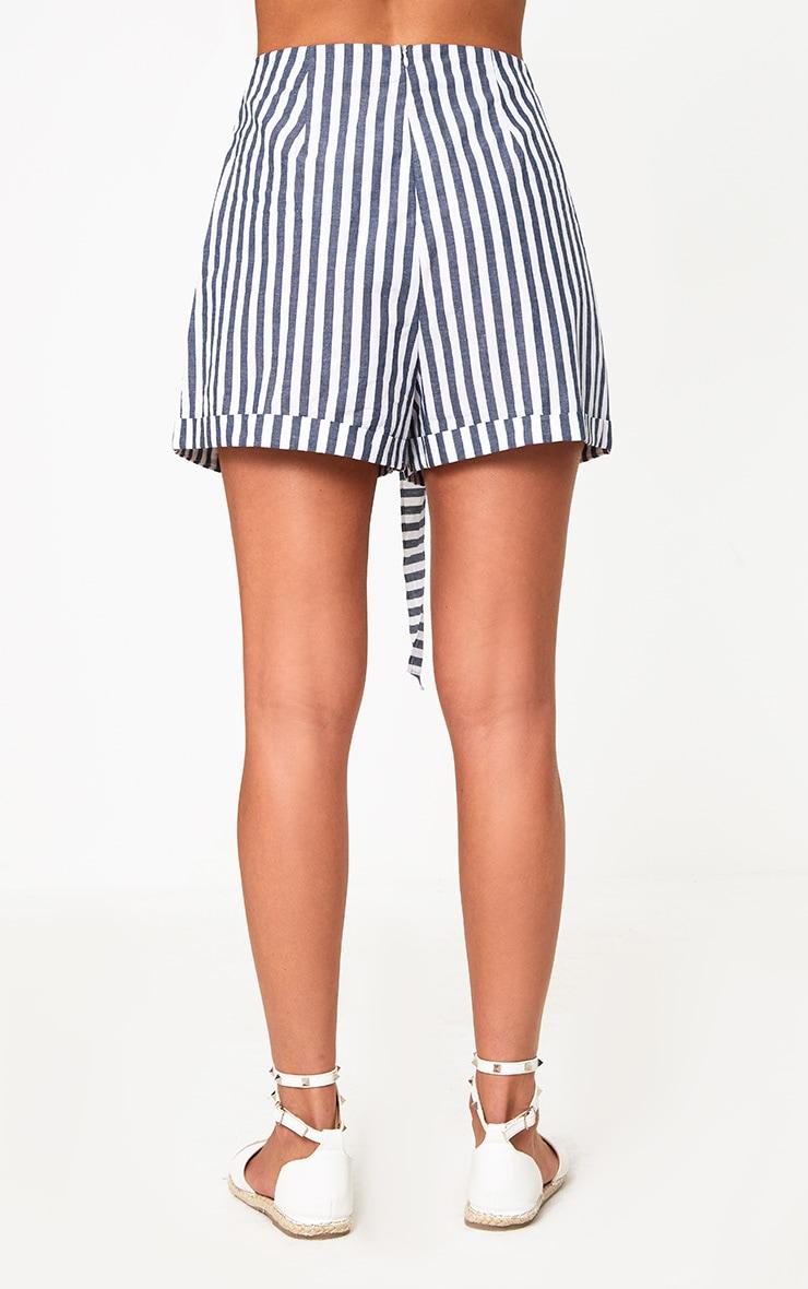 Navy Tie Waist Stripe Shorts 4