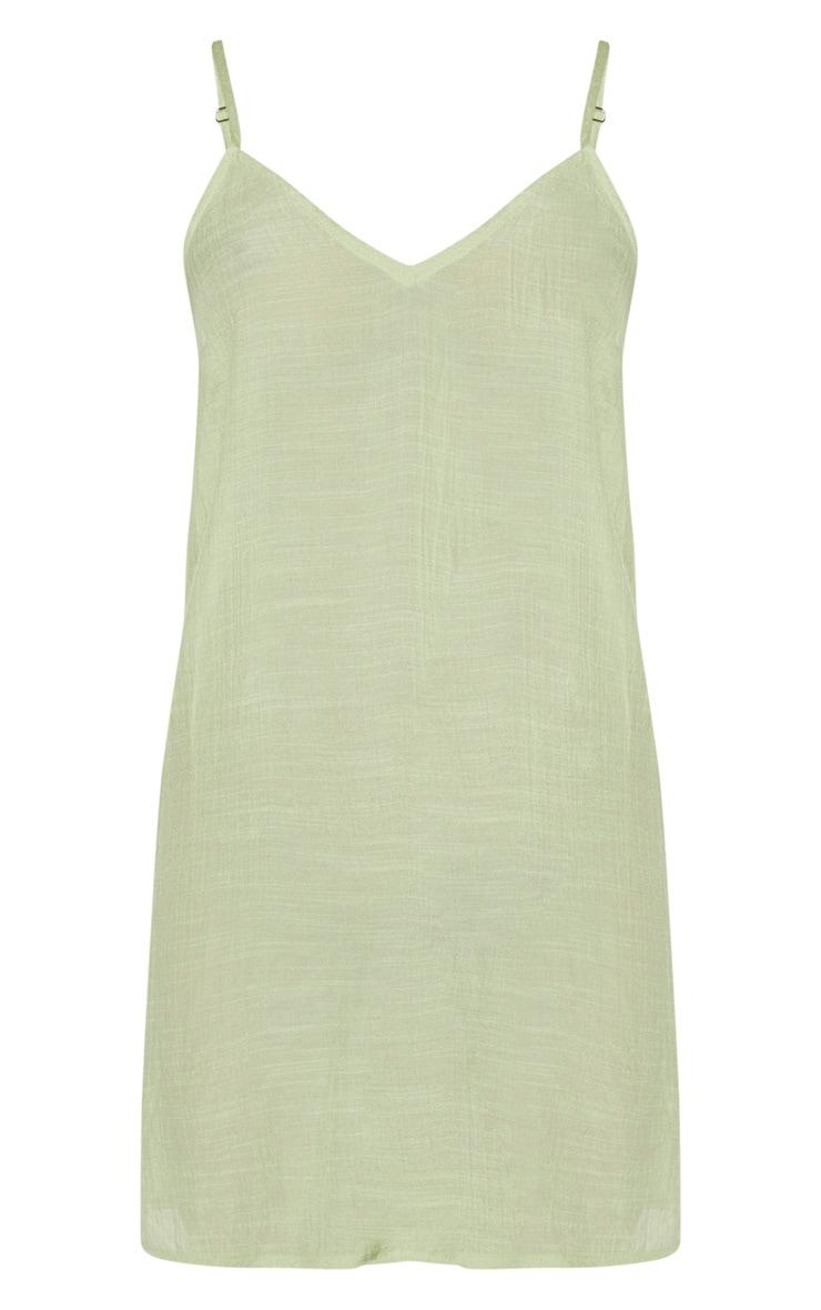 Sage Green Linen Look Strappy Cami Beach Dress 5