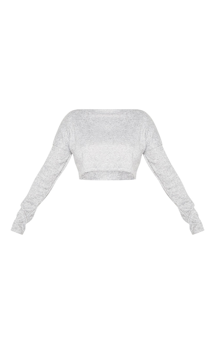 Shape - Crop top en maille gris chiné à manches longues 3