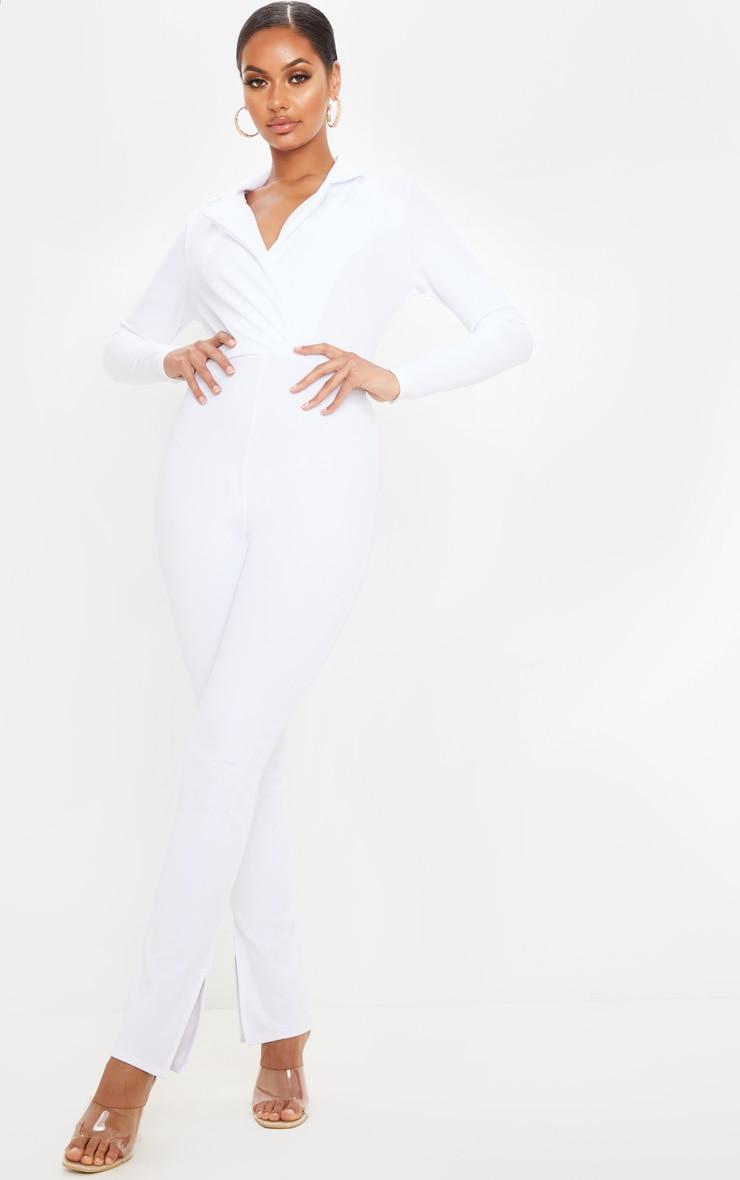 White Lapel Detail Tailored Jumpsuit 1