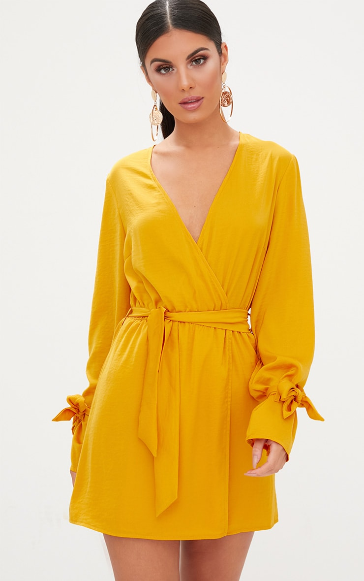 Mustard Satin Wrap Cuff Detail Shift Dress 4