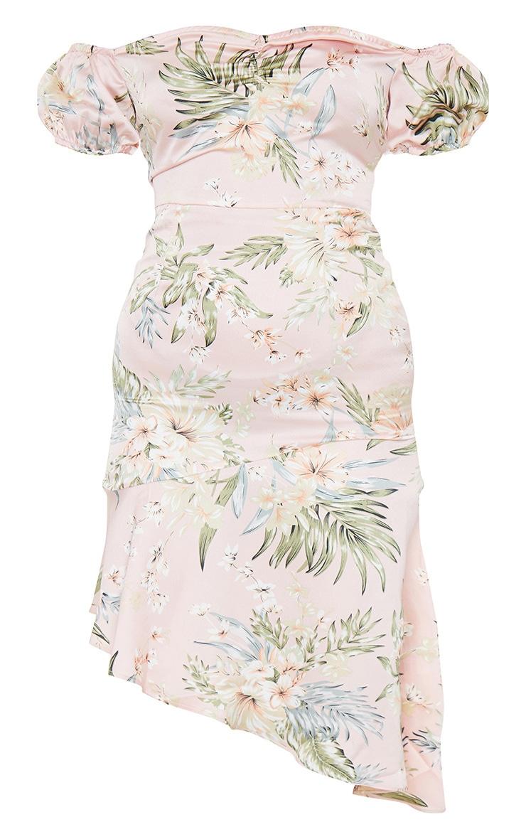 Baby Pink Floral Print Bardot Asymmetric Frill Midi Dress 6