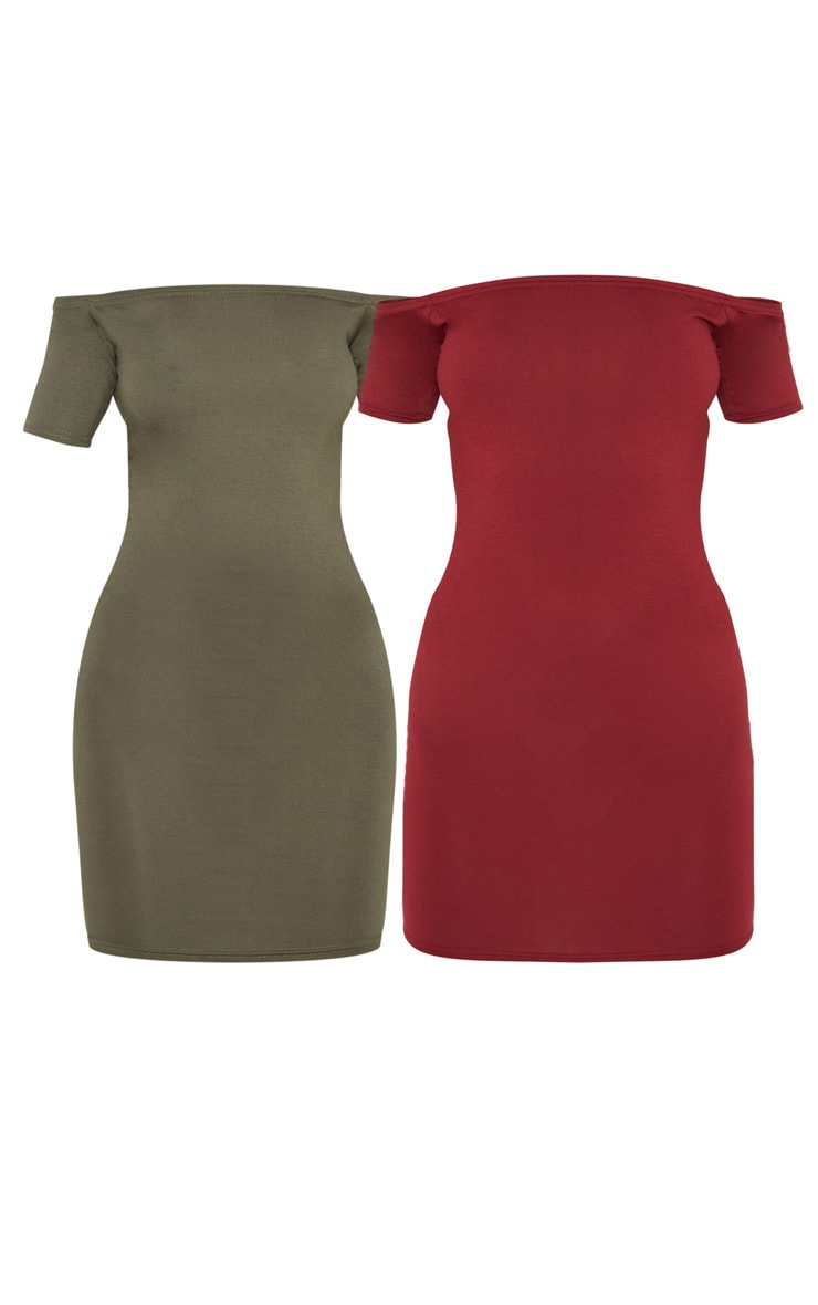 2 Pack Burgundy & Khaki Basic Bardot Bodycon Dress 3