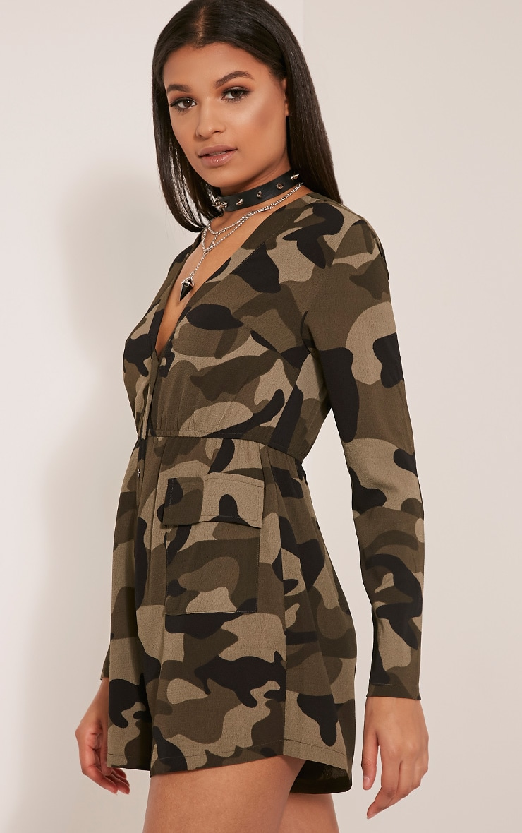 Tannie Camouflage Print Pocket Detail Playsuit 4