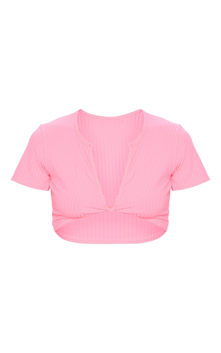 Fuschia Rib Knot Twist V Neck Crop Top 5