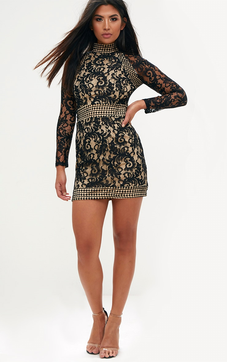 Black Lace High Neck Bodycon Dress  3