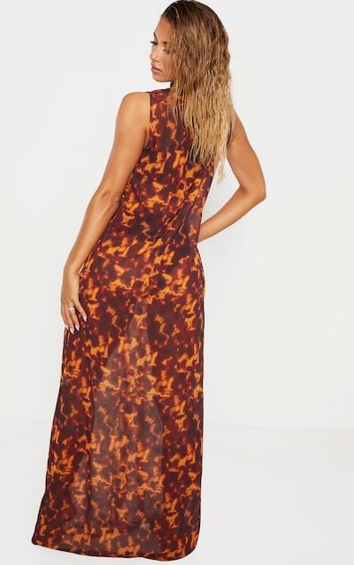 Brown Tortoiseshell High Neck Oversized Maxi Beach Dress