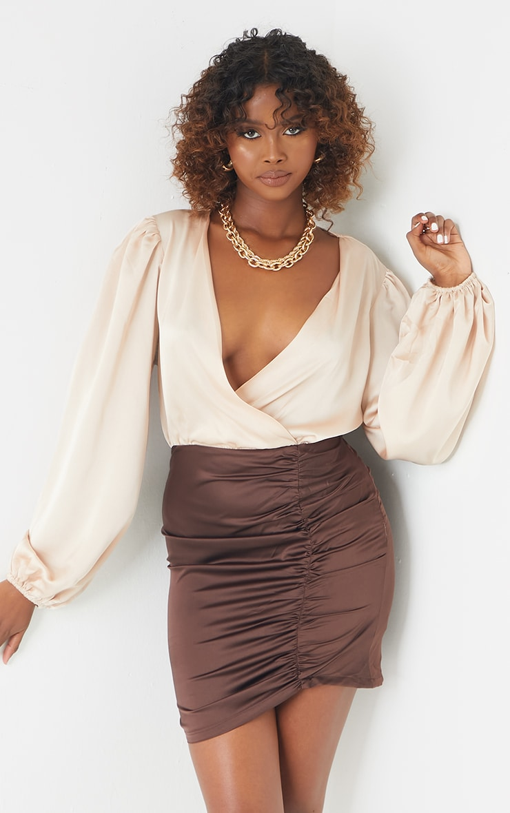 Chocolate Contrast Satin Plunge Gathered Skirt Bodycon Dress 1