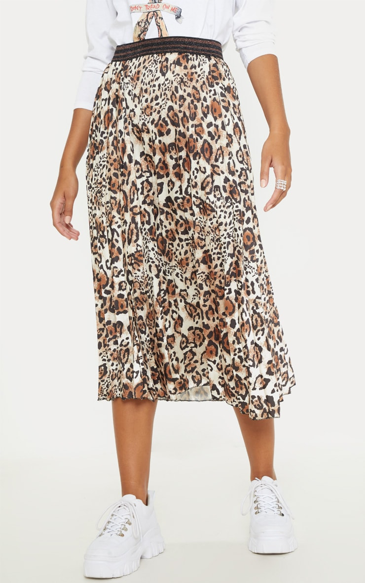 Brown Pleated Leopard Skirt  2