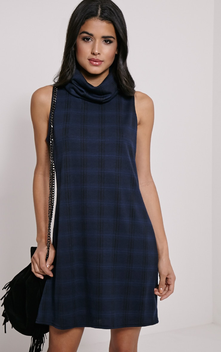 Layanna Navy Roll Neck Check Swing Dress 1