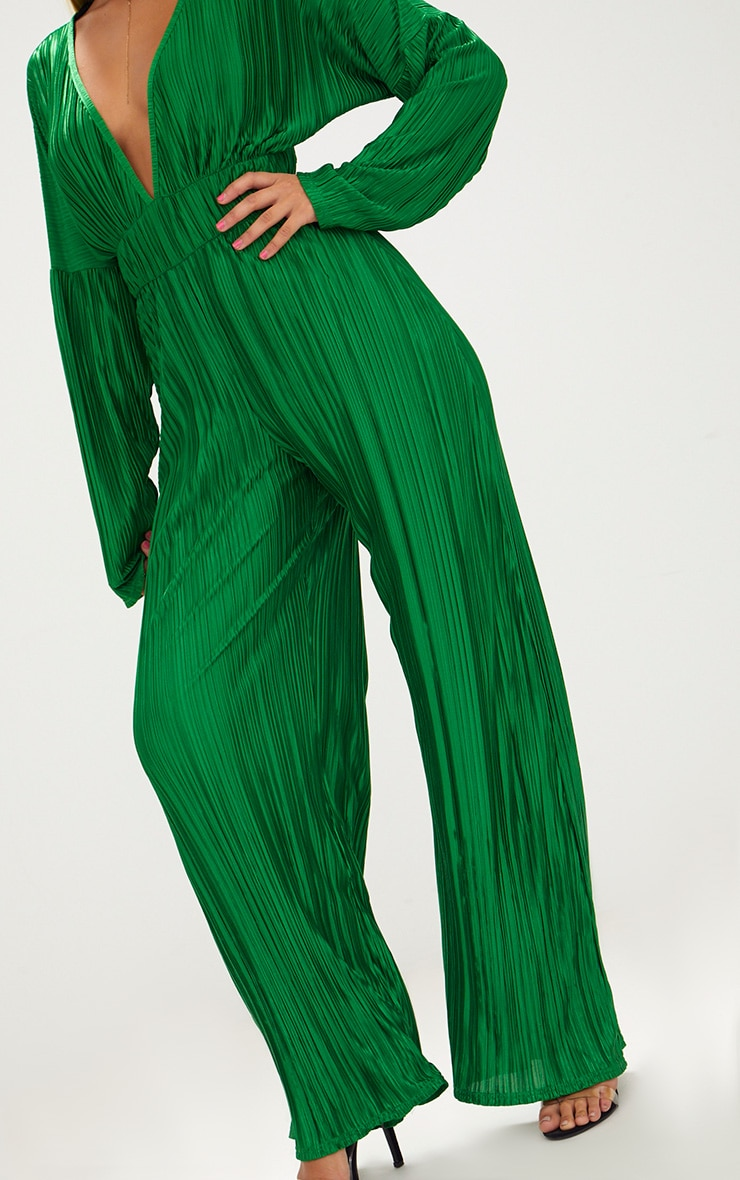 Emerald Green Long Sleeve Pleated Jumpsuit 5