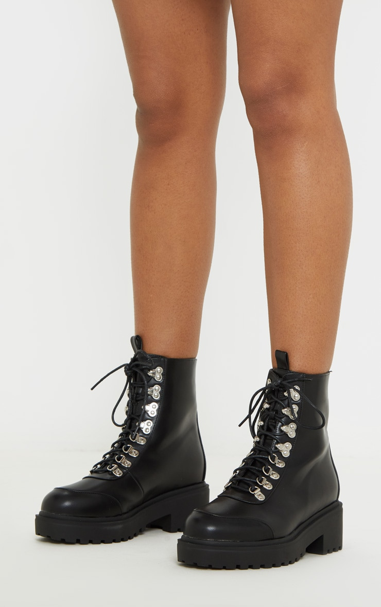 Black Chunky Sole Hiker Boot 2